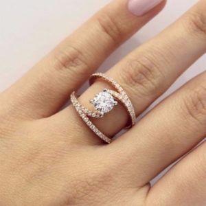 Jewelry - Elegant Lab Created White Topaz and Zirconia Ring